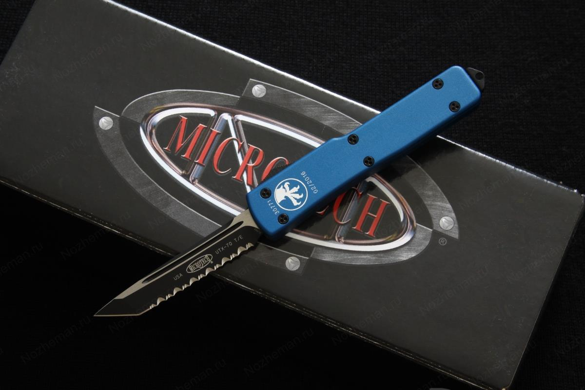 Microtech UTX-70 Tanto Black Full Serrated Blue 1